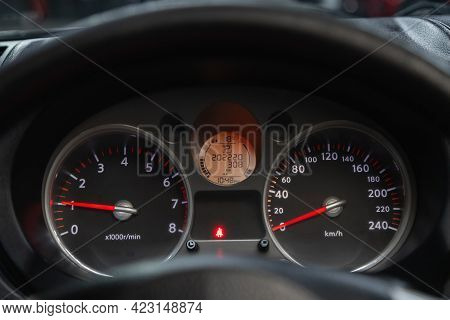 Novosibirsk, Russia - June 08, 2021: Nissan X-trail, Speedometer, Tachometer And Steering Wheel Spee