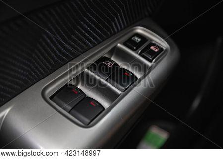 Novosibirsk, Russia - June 08, 2021: Subaru Forester, Car Door Interior Armrest With Window Control
