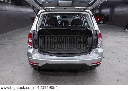 Novosibirsk, Russia - June 08, 2021: Subaru Forester, Rear View Of A Car With An Open Trunk. Exterio