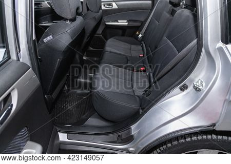 Novosibirsk, Russia - June 08, 2021: Subaru Forester, Close-up Of The Black  Rear Seats With Seats B