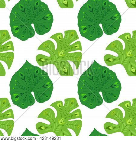 Tropical Pattern With Liana And Monstera Leaves With Folk Pattern On White Background. Natural Vecto