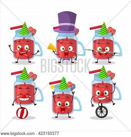 Cartoon Character Of Strawberry Smoothie With Various Circus Shows