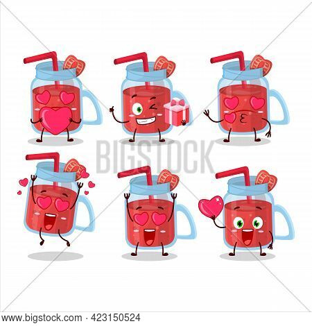 Strawberry Smoothie Cartoon Character With Love Cute Emoticon