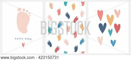 Cute Nursery Vector Art. Light Pink Little Baby Foot Isolated On A White Background. Hello Baby. Bab