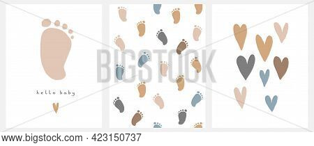 Cute Nursery Vector Art. Light Brown Little Baby Foot Isolated On A White Background. Hello Baby. Ba