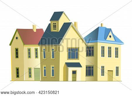 Village. Street With Houses. Cartoon Cheerful Flat Style. Village. Small Cozy Suburban Cottages. Gab