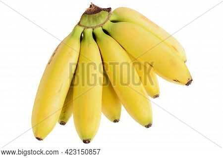 A Bunch Of Few Ripe Natural Yellow Bananas Isolated On A White Background. Selective Focus.