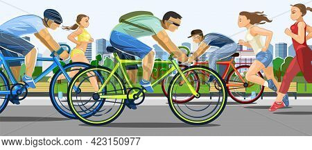 The Girls Are Running. Guys Ride Bicycles. Urban Sports. Fitness And Healthy Lifestyle. Flat Cartoon