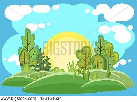 Flat Forest. Illustration In A Simple Symbolic Style. Sun. Funny Green Landscape. Comic Cartoon Desi