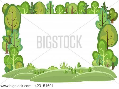 Flat Forest. Frame. Illustration In A Simple Symbolic Style. Funny Green Rural Landscape. Comic Cart