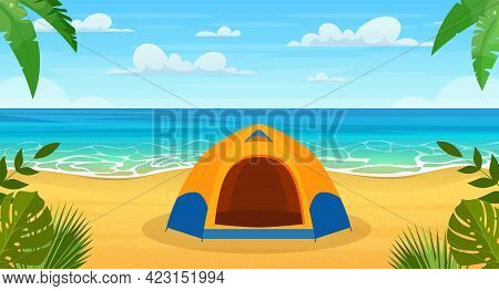Summertime On The Beach. Cartoon Tourist Tent Camping On The Tropical Beach. Summer Vacation On Sea