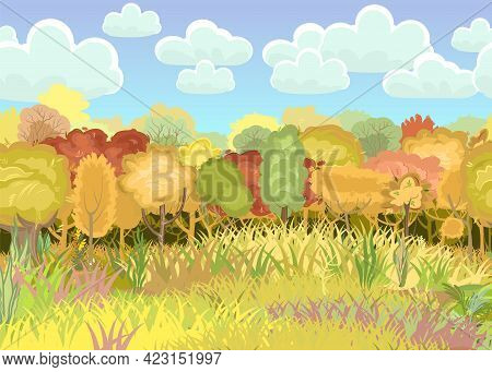 Forest Autumn Meadow. Green, Yellow And Red Trees. Edge With Grass. Glade. Beautiful And Graceful Tr
