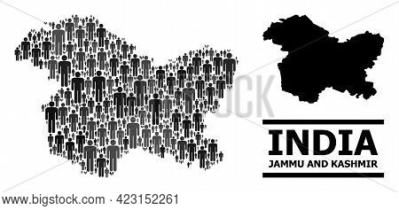 Map Of Jammu And Kashmir State For Social Proclamations. Vector Population Collage. Collage Map Of J