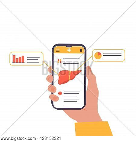 Concept Of Mobile App Explaining Liver Human Organ. Online Liver Check Up Examination. Medical Appli
