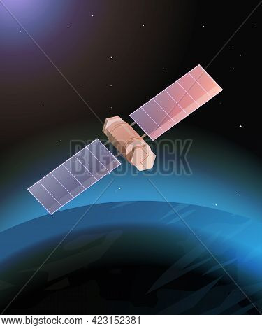 Space Exploration Astronautics Technology Concept Observation Satellite Flying Orbital Spaceflight A