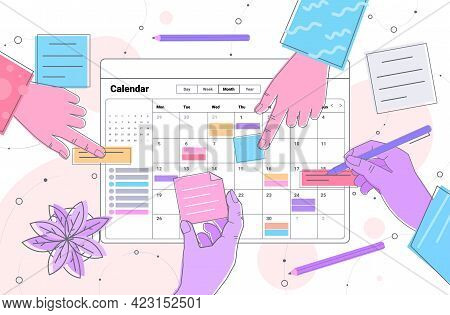 Hands Planning Day Scheduling Appointment In Online Calendar App Agenda Meeting Plan Time Management