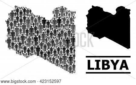 Map Of Libya For Demographics Agitprop. Vector Demographics Mosaic. Concept Map Of Libya Created Of