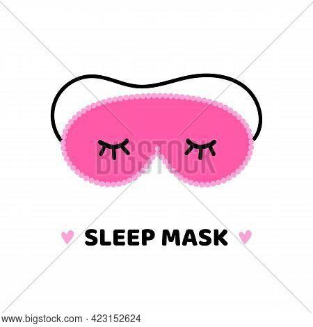 Cute And Glamorous Pink Sleep Mask With Eyelashes Vector Cartoon Style Icon, Illustration.