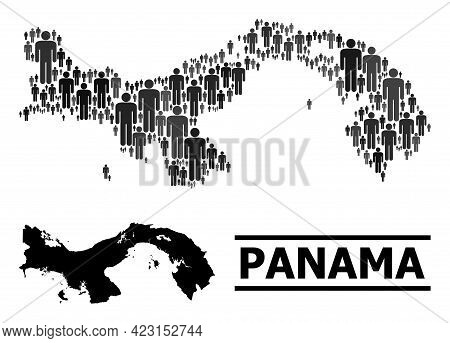 Map Of Panama For Political Posters. Vector Population Abstraction. Composition Map Of Panama Design