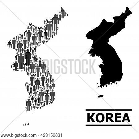 Map Of Korea For National Agitation. Vector Population Collage. Collage Map Of Korea Constructed Of