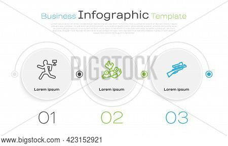 Set Line Murder, Burning Car And Sniper Rifle With Scope. Business Infographic Template. Vector