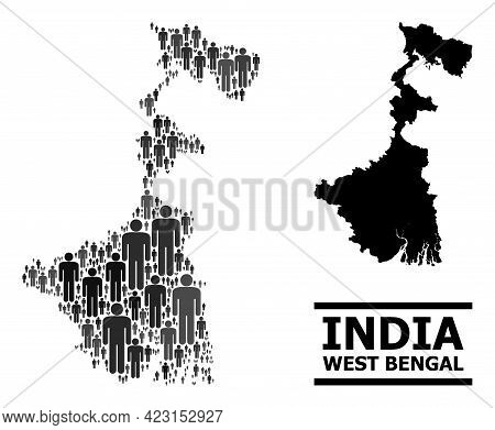 Map Of West Bengal State For Political Agitprop. Vector Population Abstraction. Abstraction Map Of W