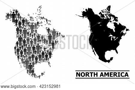 Map Of North America For Social Promotion. Vector Population Collage. Collage Map Of North America C