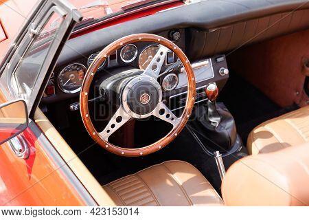 Bordeaux , Aquitaine France - 06 06 2021 : Mg Convertible Interior Motor Car Classic From Morris Gar