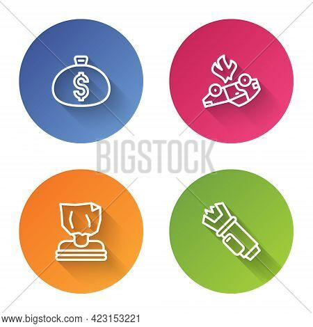 Set Line Money Bag, Burning Car, Kidnaping And Police Electric Shocker. Color Circle Button. Vector