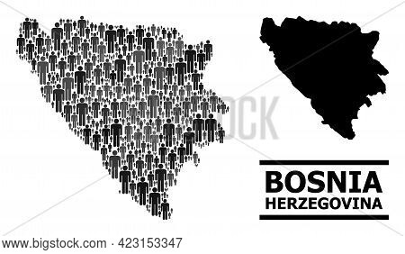 Map Of Bosnia And Herzegovina For National Purposes. Vector Demographics Abstraction. Abstraction Ma