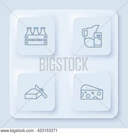 Set Line Bottled Milk In Wooden Box, Milk Jug Or Pitcher And Glass, Butter Butter Dish And Cheese. W