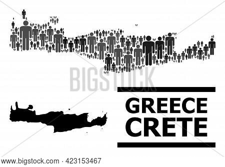 Map Of Crete Island For National Projects. Vector Nation Collage. Concept Map Of Crete Island Organi