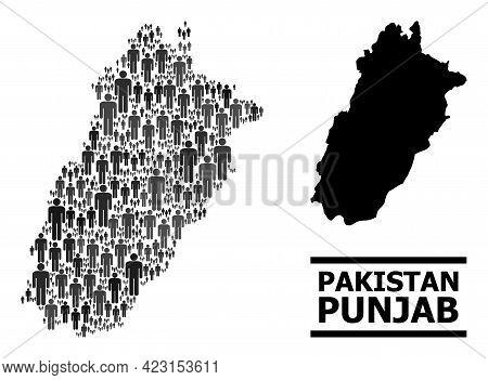 Map Of Punjab Province For Demographics Posters. Vector Demographics Mosaic. Pattern Map Of Punjab P