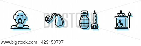 Set Line Syringe, Head Of Deaf And Dumb, Hearing Aid And Elevator For Disabled Icon. Vector