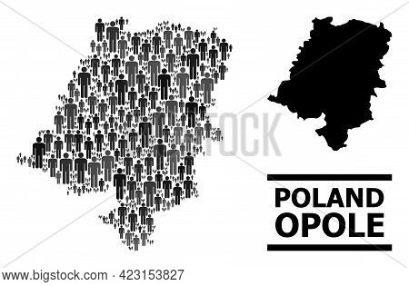 Map Of Opole Province For Demographics Purposes. Vector Demographics Collage. Pattern Map Of Opole P