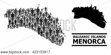 Map Of Menorca Island For Demographics Purposes. Vector Demographics Mosaic. Concept Map Of Menorca