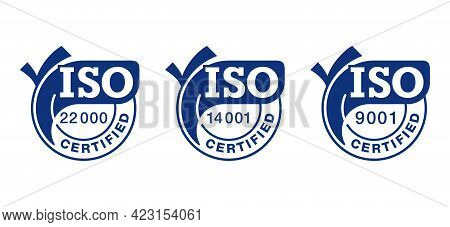 Iso 9001, 14001, 22000 Certified Flat Blue Badges Set With Big Check Marks - Quality Management Syst