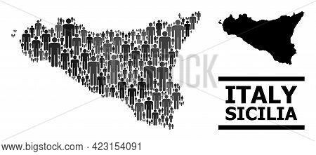 Map Of Sicilia Island For Demographics Agitprop. Vector Demographics Collage. Concept Map Of Sicilia