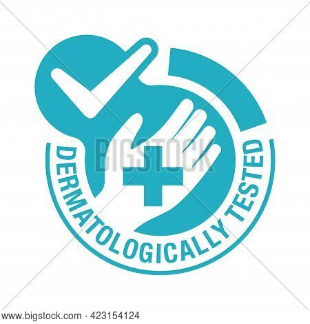 Dermatologically Tested Flat Emblem - Human Hand With Medical Cross. Quality Testing Proven Stamp Fo