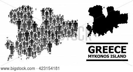 Map Of Mykonos Island For Demographics Doctrines. Vector Demographics Abstraction. Concept Map Of My
