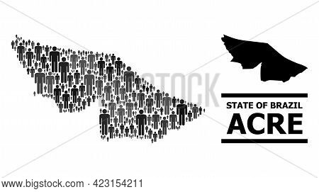 Map Of Acre State For Social Purposes. Vector Population Abstraction. Abstraction Map Of Acre State