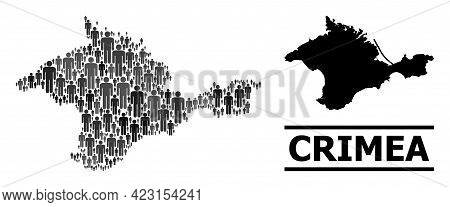 Map Of Crimea For Demographics Posters. Vector Demographics Collage. Collage Map Of Crimea Created O