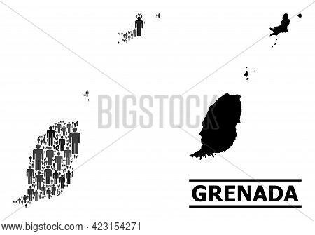 Map Of Grenada Islands For Politics Doctrines. Vector Population Mosaic. Abstraction Map Of Grenada