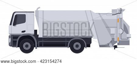 Garbage Truck With White Body In Side View. Ecology, Dump Recycling Business. Flat Vector Illustrati