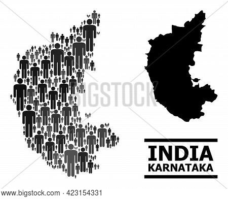 Map Of Karnataka State For Demographics Doctrines. Vector Population Abstraction. Abstraction Map Of