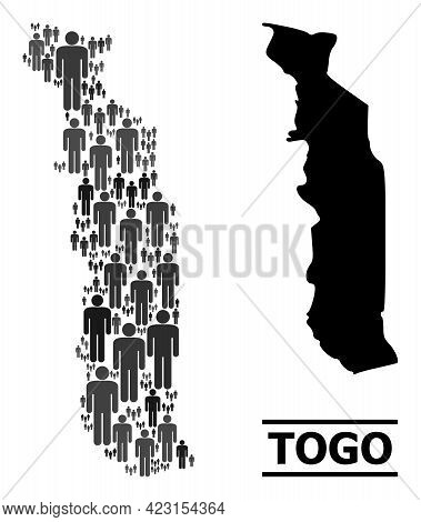 Map Of Togo For Politics Projects. Vector Nation Collage. Collage Map Of Togo Designed Of Human Pict