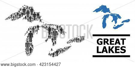 Map Of Great Lakes For Demographics Agitprop. Vector Demographics Abstraction. Abstraction Map Of Gr