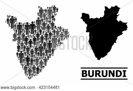 Map Of Burundi For Social Promotion. Vector Nation Collage. Collage Map Of Burundi Constructed Of Pe