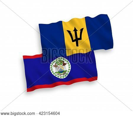 National Fabric Wave Flags Of Belize And Barbados Isolated On White Background. 1 To 2 Proportion.