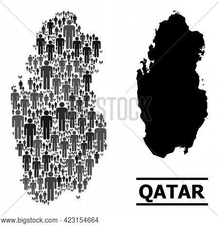 Map Of Qatar For Demographics Agitation. Vector Demographics Abstraction. Abstraction Map Of Qatar D